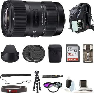 Sigma 18-35mm F1.8 Art DC HSM Lens for Canon DSLR Cameras W/ 32GB SD Card + Tripod Advanced Travel Holiday Bundle