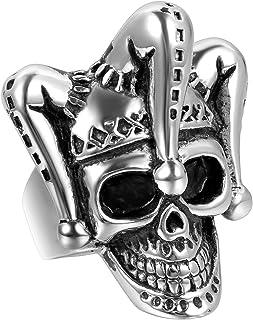Jewelrywe Gioielli Anello da Uomo, Anelli, Gotico Joker Cranio Teschio Clown, Acciaio Inossidabile, Nero Argento (con Bors...