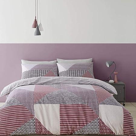 Catherine Lansfield Larsson Geo - Set copripiumino per letto king size, colore: prugna