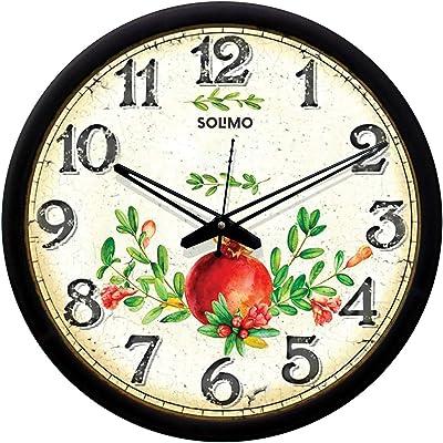 Amazon Brand - Solimo 12-inch Wall Clock - pomegranate (Silent Movement, Black Frame)