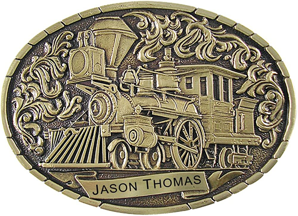 Indiana Metal New Free Shipping Chicago Mall Craft Men's Train Engravable MA Buckle Belt Engine