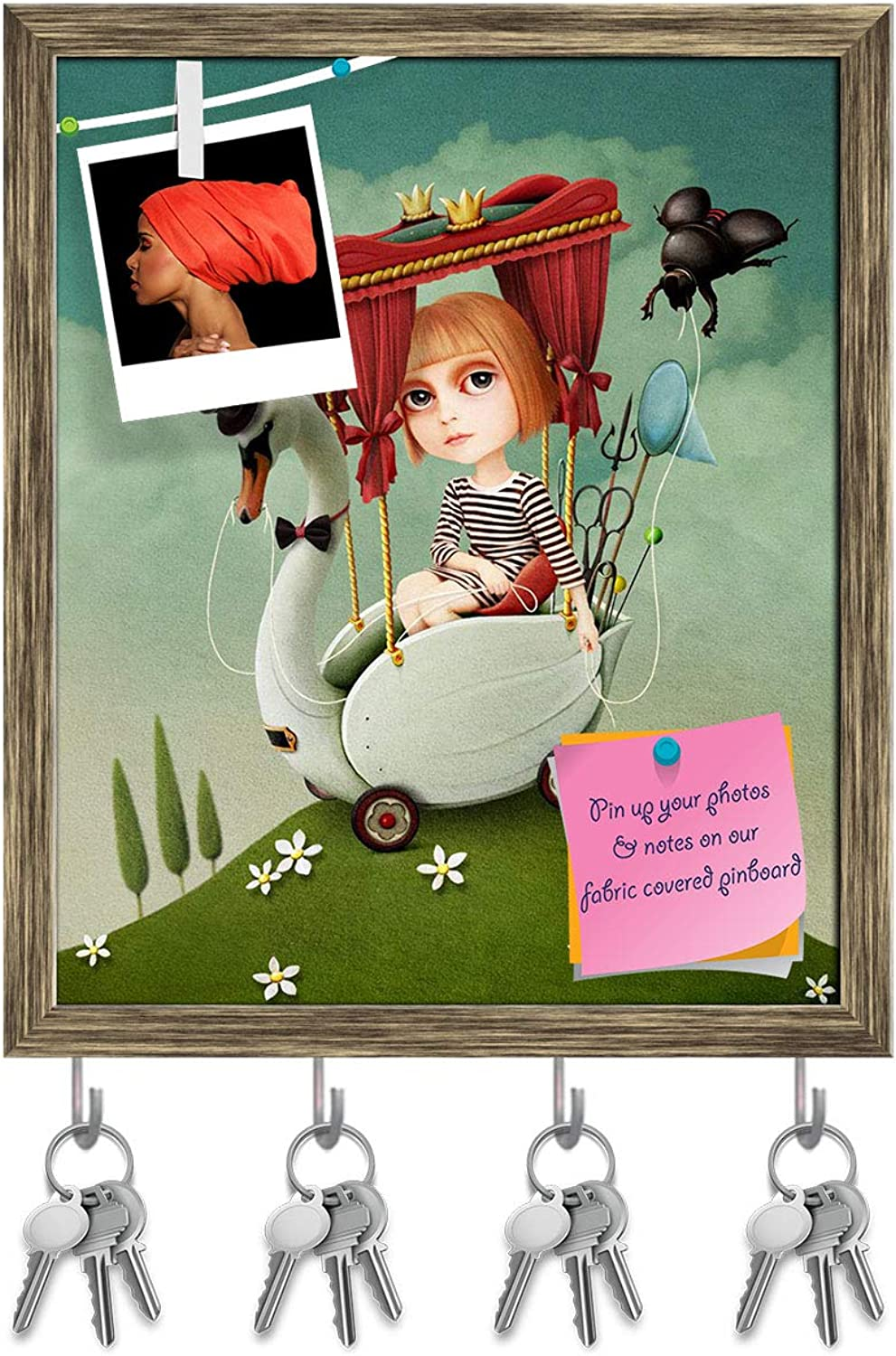 Artzfolio Girl Travels On Swan Key Holder Hooks   Notice Pin Board   Antique golden Frame 16 X 19.1Inch
