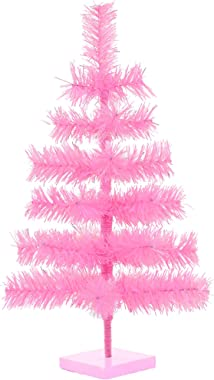 """24"""" Pink Christmas Trees Artificial Flame Resistant Pink Branches Classic Tinsel Retro Feather Tree Tabletop Women's Pride Display Tree Wooden Base Stand Included (Barbie Pink)"""