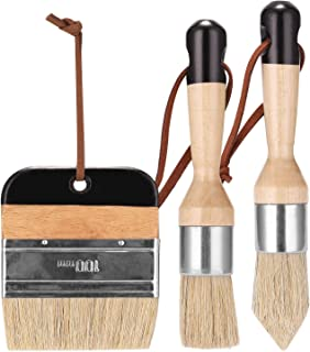 Tykeed 3Pcs Chalk Paint Brush Wax Paint Brushes Bristle Stencil Brushes Wood Furniture Home Wall Brush Paint Bristle Brush