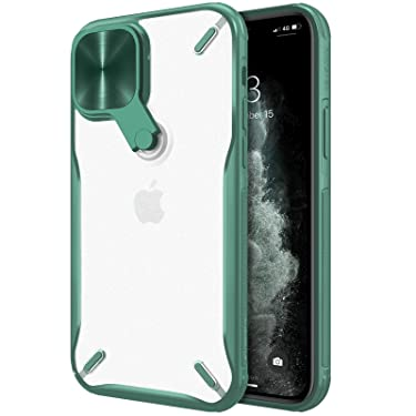 """Nillkin Case for Apple iPhone 12 Mini (5.4"""" Inch) Cyclops Metal Stand Camera Protect Case Soft TPU Edge + Translucent PC Hard Back Dark Green Color"""