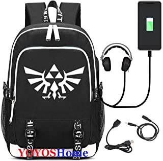 YOYOSHome Luminous Japanese Anime Cosplay Daypack Bookbag Laptop Bag Backpack School Bag with USB Charging Port (The Legend of Zelda 2)