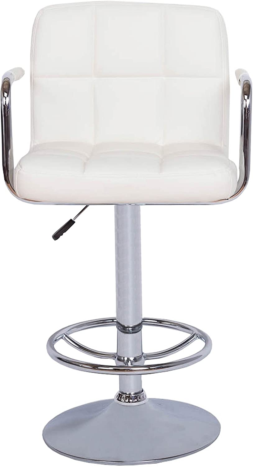 Vogue Furniture Direct Direct Adjustable Height Swivel Barstools With Armrest and Footrest, White