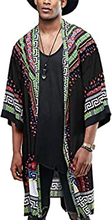Mens African Dashiki Printed Ruffle Shawl Collar Cardigan Lightweight Long Length Drape Cape