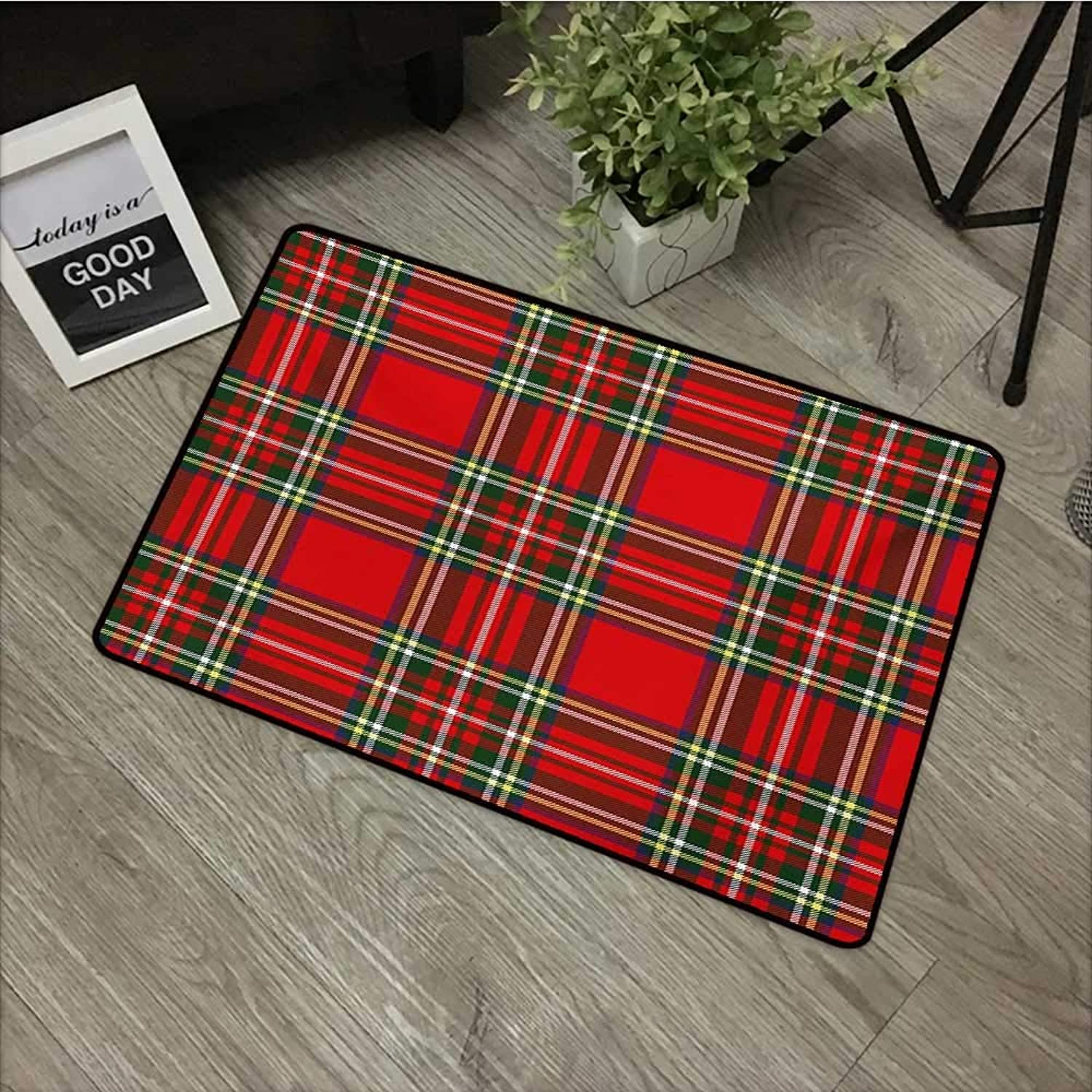 Corridor Door mat W35 x L59 INCH Plaid,European Western Culture Inspired Abstract Irish Pattern Vintage Classical Design,Multicolor Non-Slip, with Non-Slip Backing,Non-Slip Door Mat Carpet