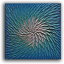 YaSheng Art - 3D Metallic Bead Light Blue and Silver Texture Oil Painting on Canvas Abstract Art Pictures Canvas Wall Art ...