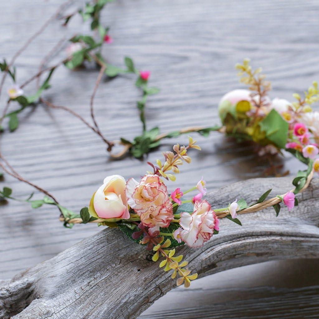 Stirnband-Blumen-Girlande-handgemachtes Hochzeits-Braut-Partei-Band-Stirnband Wristband Hairband Blumenkranz Krone WYZ /& Crown Blumenkopfschmuck Blumen-Kranz Farbe : Bunte