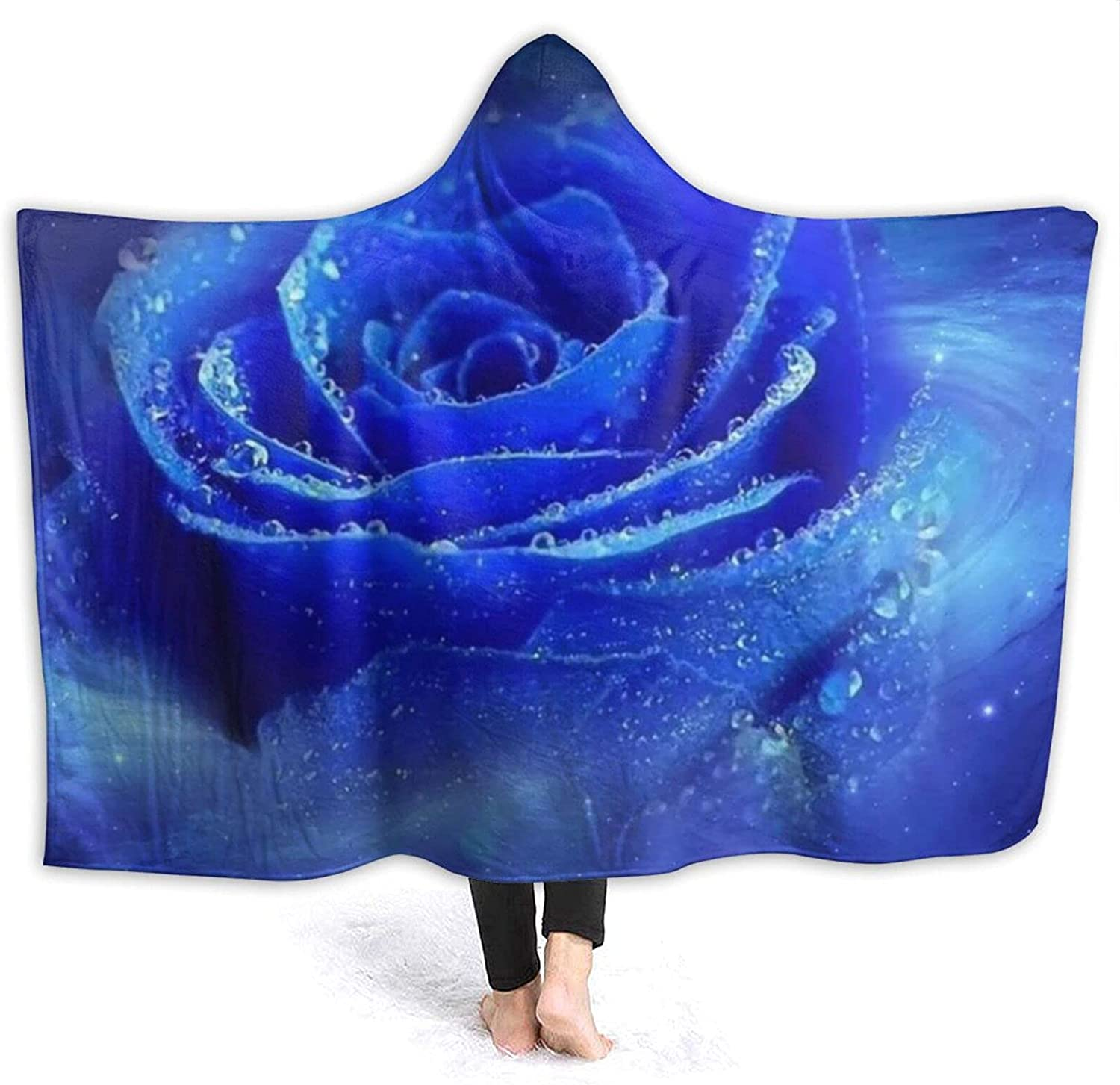 Blue Rose Hoodie Brand new Max 80% OFF Blanket Wearable-Hooded Flannel O PNNUO