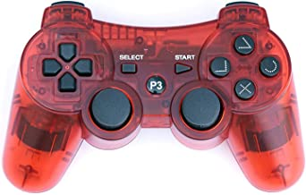 PomeMall Transparent Wireless Remote PS3 Controller Gamepad for use with Playstation 3 (Red)