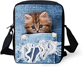 HUGS IDEA Cute Kitten Printed Mini Crossbody Small Messenger Totes Bag Clutch Wallet Cellphone Purse