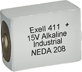 Exell 411A Alkaline 15V Battery Replaces NEDA 208, 10F20, BLR121, 411A ANSI 208 BA 331/U Burgess K10 Burgess U10 Eveready 10F20 Eveready B121 Eveready BLR121 Mallory M121 NEDA 208 RCA VS082