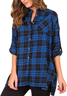 Women's Plaid Shirts Button Down Tops Flannel Roll-up Sleeve Blouses Tunics