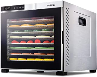 Ivation 10 Tray Commercial Food Dehydrator Machine   1000w, Digital Adjustable Timer and Temperature Control   Dryer for J...