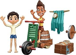 Mattel Disney and Pixar Luca Scooter Build & Crash Pack with Luca Paguro & Alberto Scorfano Posable Action Figures & 6 Swa...