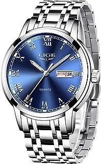 LIGE Montre Homme, Business Casual Montre Bleu étanche en Acier Inoxydable Analogique Quartz de Calendrier Watch for Man