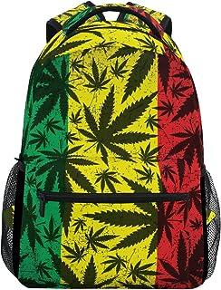 57c92c5fe1 TIZORAX Feuille de Cannabis sur Grunge Drapeau Rasta Sac à Dos Sac d'école  pour