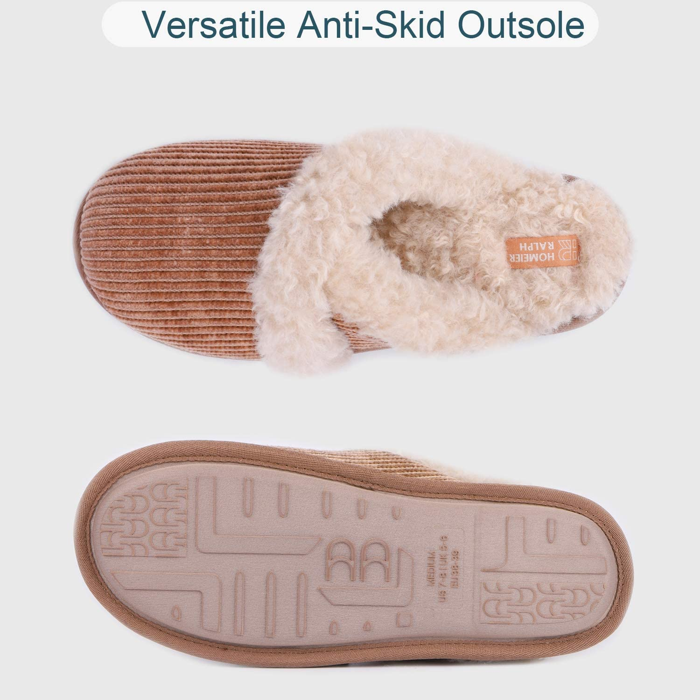 Homeier Ralph Ladies/' Slippers Warm Chenille Memory Foam Fluffy Slip on House Slipper with Fuzzy Faux Sheepskin Fur Footbed