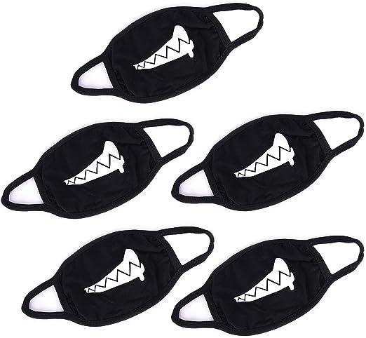 5PCS Cotton Black Face Masks ,Washable & Reusable Anime Cartoon Kpop Lucky Bear Women Men Muffle Face Mouth Masks