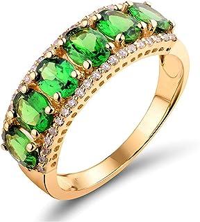 Daesar Anelli Oro Giallo 18K, Anello Matrimonio Donna Anello Tsavorite 1.91ct Corolla Anelli in Oro Giallo Donna