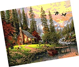 Segolike Unframed Digital DIY Oil Painting Canvas Kit for Adults Kids Drawing Learning Class Craft - hut in The Woods, 40 * 50cm