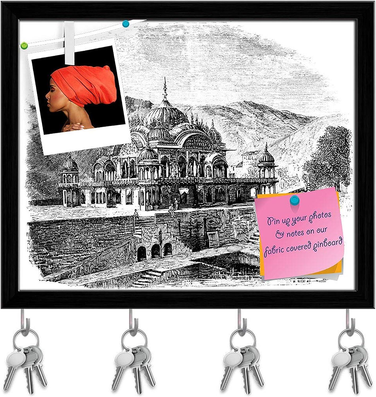 Artzfolio Victorian Engraving of Alwar India Key Holder Hooks   Notice Pin Board   Black Frame 19.6 X 16Inch