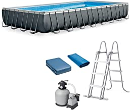 Intex Ultra XTR Rectangular Above Ground Frame Swimming Pool Set w/Pump, Gray