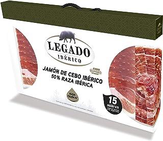 ElPozo Legado Ibérico Estuche De Jamón De Cebo Ibérico (50% Raza Ibérico), Cortado En Medias Lonchas Con Separador, 15 Sob...