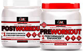 Advanced Molecular Labs - Preworkout Powder and Postworkout Powder, Performance Enhancer and Recovery Enhancer, Lean Muscle Growth, Watermelon and Mixed Berry, 18.34 and 12.3 oz