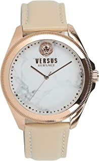 Versus by Versace Womens Elmont Quartz Gold and Leather Fashion Watch, Color: