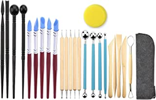 Ball Stylus Dotting Sculpting Kit - Jaybva Polymer Clay Silicone Pottery Sculptures ToolsRubber Tip Pens for Rock Painting Ceramics Indentation Doll Modeling Carving Embossing Paper Flowers 24pcs