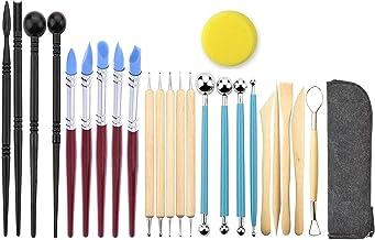 Jaybva - Juego de bolígrafos de silicona para esculturas de arcilla polimérica y cerámica, 24 unidades, diseño de muñecas de cerámica, para tallar flores de papel de repujado