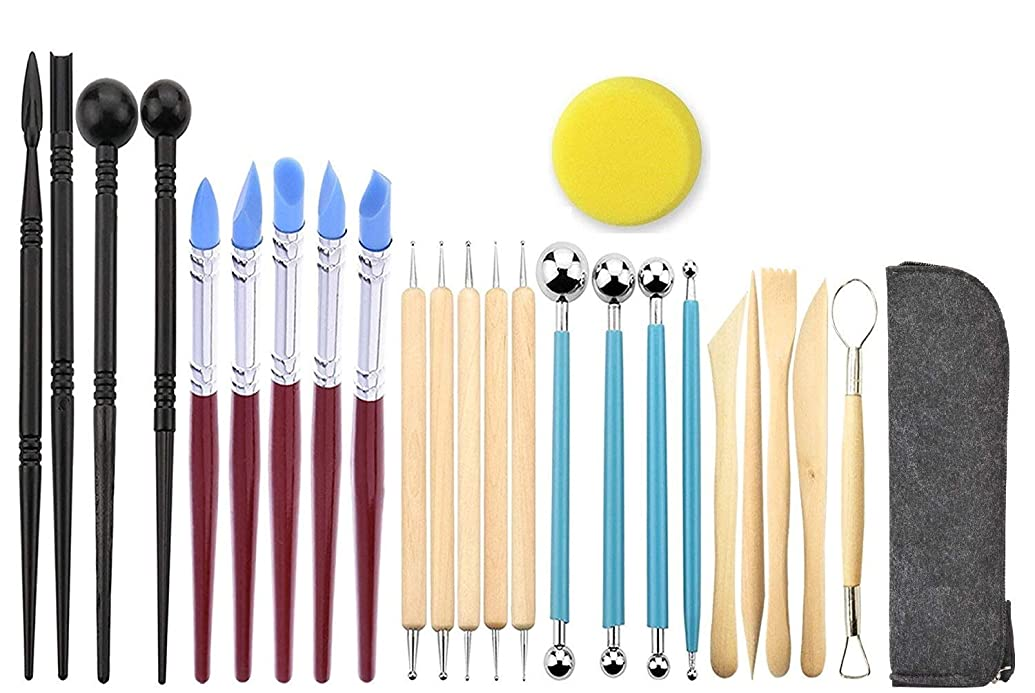 Ball Stylus Dotting Sculpting Kit - Jaybva Polymer Clay Pottery Sculptures Tools Silicone Rubber Tip Pens for Rock Painting Ceramics Indentation Doll Modeling Carving Embossing Paper Flowers 24pcs