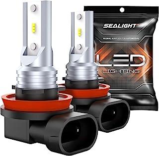 H11 Led Fog Lights, SEALIGHT H8 H16 Led Fog Bulbs Lamps High Power 6CSP Led Chips,6000K White (Pack Of 2)