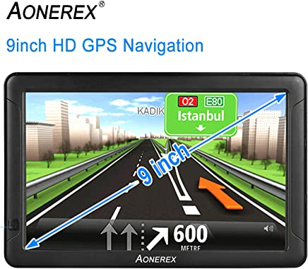 9inch HD AONEREX GPS Navigation for car/Truck Capacitive Big Touchscreen, [2019 Upgraded Version] Voice Trun-by-Turn Route Guidance, Speed Limit Reminder Free Lifetime Map Update