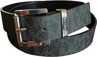 Michael Kors de las mujeres Negro piel sintético MK Diseño Plaza hebilla moda cinturón