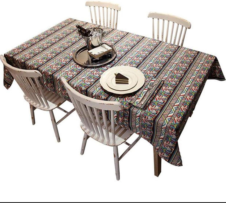 Tischdecke HETAO Baumwolle und Leinen Tischdecke Einfache Geometrie Stil Tuch für Home Hotel Cafe Restaurant Plain Farbe Esstisch , 120200cm , Dekoration