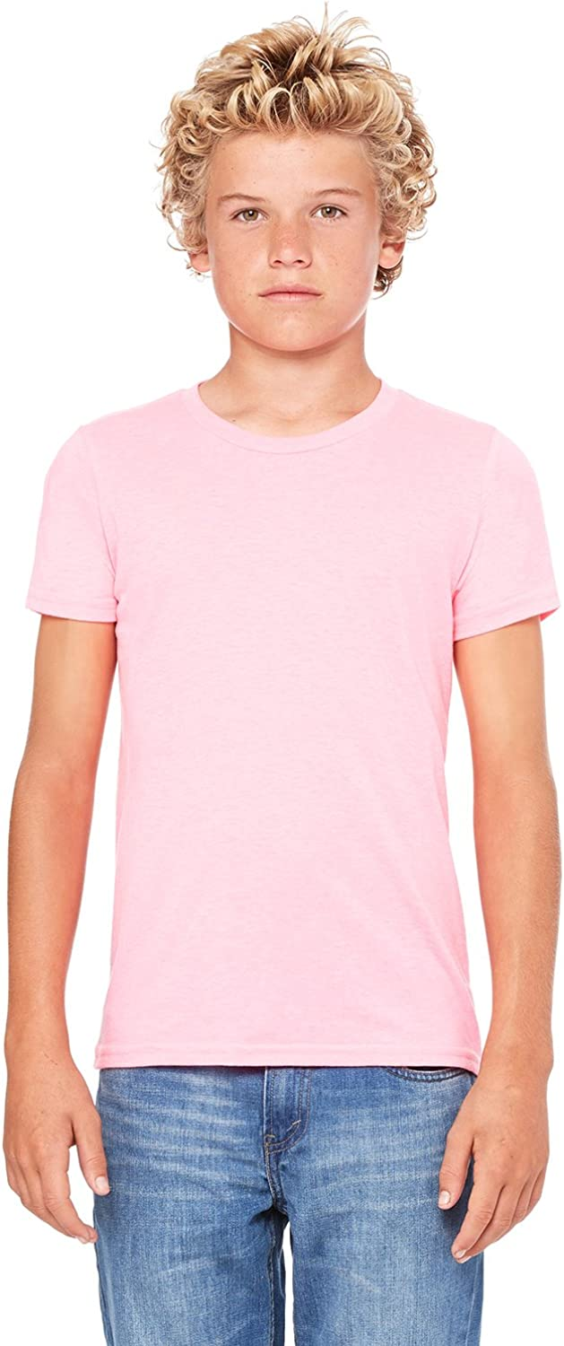 Bella Canvas Youth Jersey Short Sleeve Tee, Neon Pink, Large