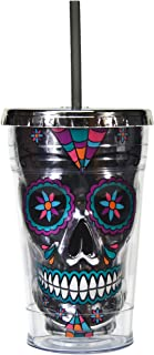 Sugar Skull Cup Tumbler Insulated Travel Mug with Straw Day of the Dead (Silver Smoke, 18 oz)