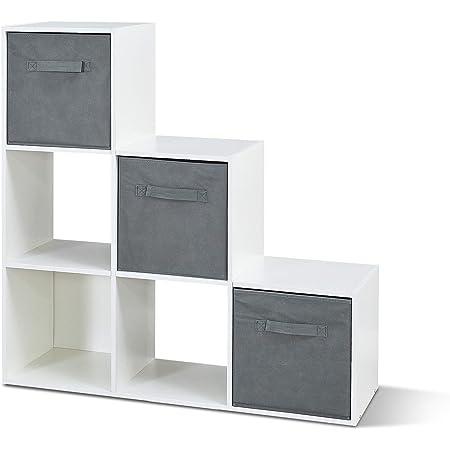 104,5 x 107,5 x 29 cm Blanc Bois VCM Nitas /Étag/ère en escalier