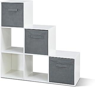 Mondeer - Étagère Escalier - Meuble de Rangement - 6 Compartiments, 3 Boîtes, Bois, Blanc, 90,5 x 29 x 90,5cm