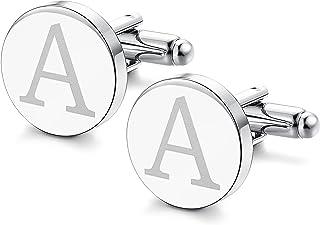 ORAZIO Mens Classic Engraved Initial Cufflinks Alphabet Letter Cufflinks Formal Business Wedding Shirts A-Z