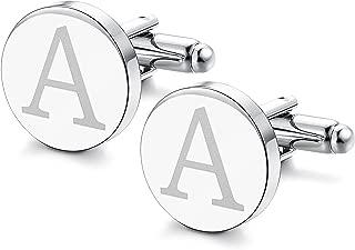 Mens Classic Engraved Initial Cufflinks Alphabet Letter Cufflinks Formal Business Wedding Shirts A-Z