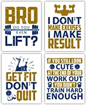 "HPNIUB Inspirational Gym Quotes Art Print,Motivational Fitness Wall Art,Set of 4 (8""X10"") Work Out Sign,Exercise Canvas Po..."