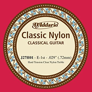 D'Addario J27H01 Student Nylon Classical Guitar Single String, Hard Tension, First String