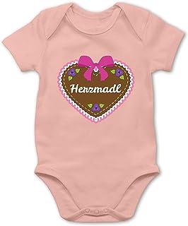 Shirtracer Herzmadl Lebkuchenherz Rosa - Baby Body Kurzarm für Jungen und Mädchen