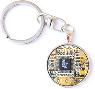 Recycled circuit board keychain, round, yellow/olive green
